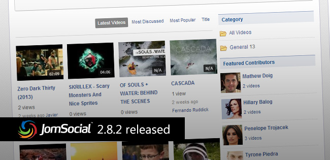 JomSocial 2.8.2 is ready! Features over 70 new updates.