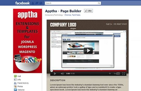 Customized Joomla Facebook Page by Apptha