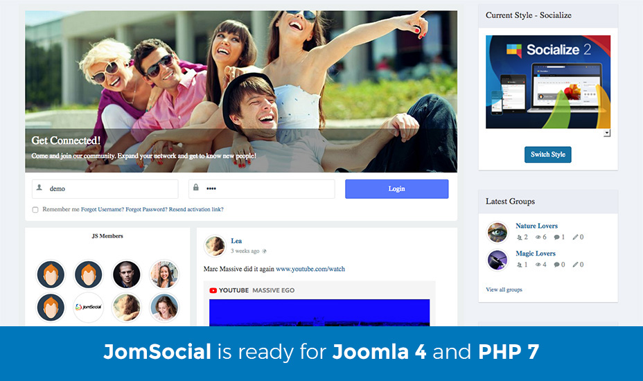 joomsocial is ready for joomla 4 and php 7