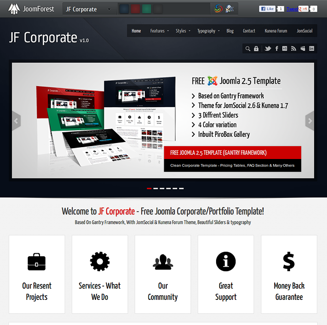 Shiny New Templates, JF Corporate (JoomForest) Shaper Social (JoomShaper) updated to JS 2.6