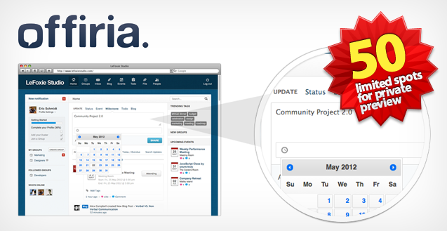Introducing OFFIRIA, a private secure Social Network for your office. 50 trial accounts up for grabs.