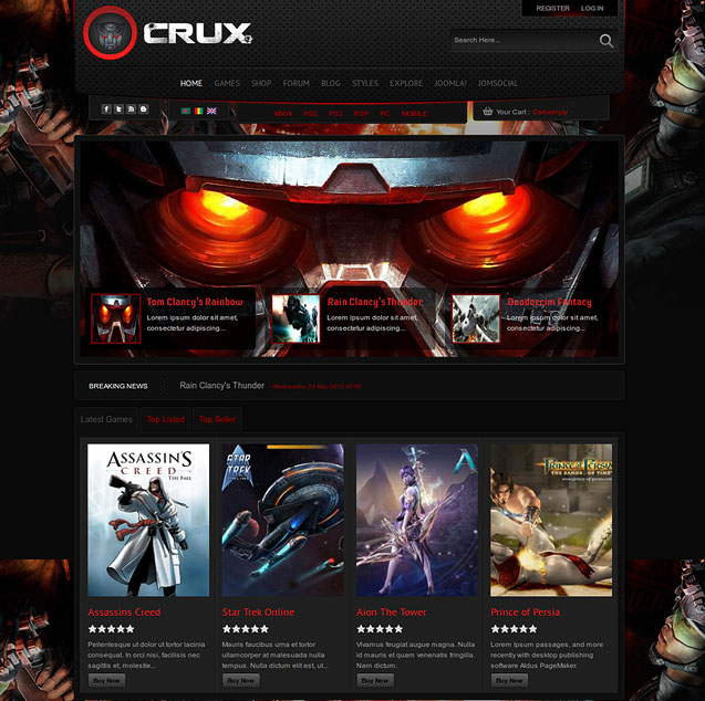 shaper crux joomla gaming template by joomshaper