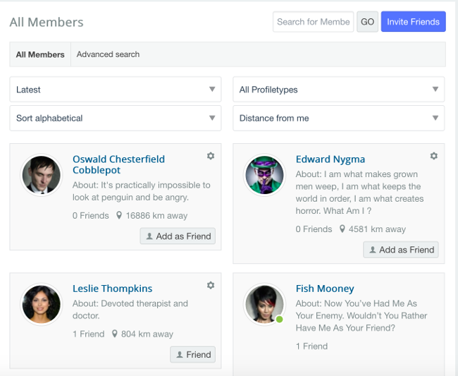 JomSocial's new member lists with rich content and distance