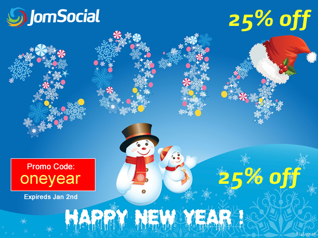 New year sale from JomSocial 25% off!