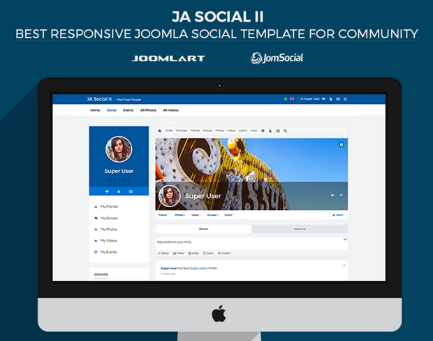 Ja social ii responsive joomla social template for your community maxwellsz