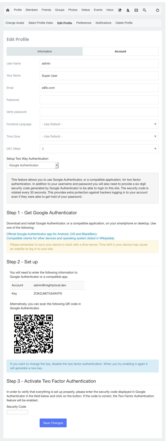 Two Factor Authentication Setup in JomSocial 4.1<br />Full image https://www.dropbox.com/s/3qyukitevoh60gx/tfa.png?dl=0