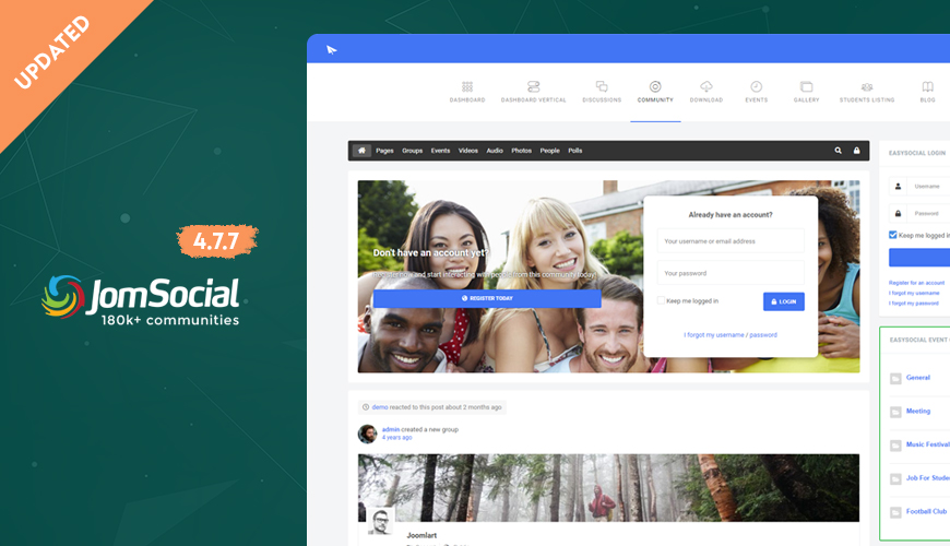 jomsocial Joomla social community extension updated for bug fixes