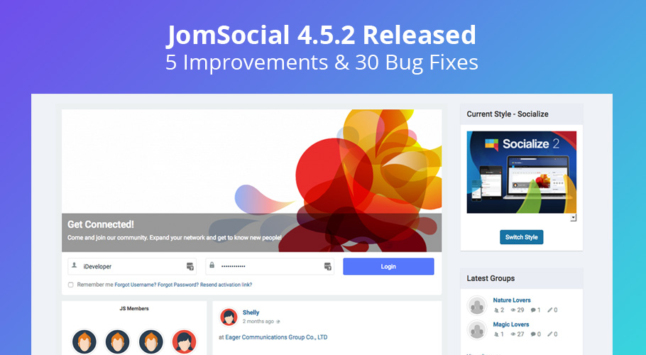 JomSocial 4.5.2 release for improvements and bug fixes