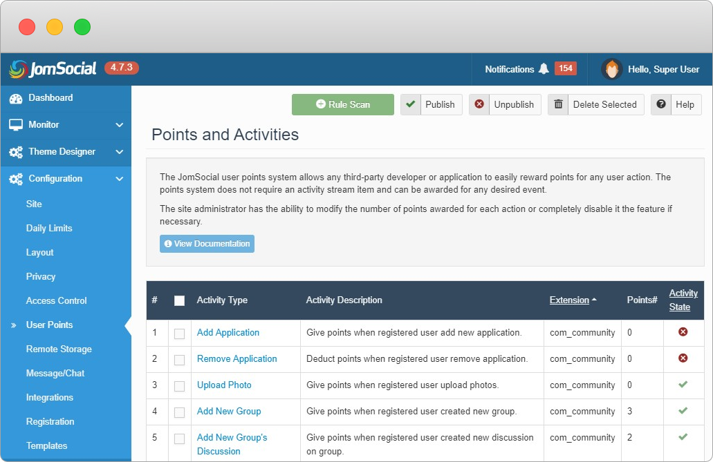 joomla social community extension- jomsocial user points