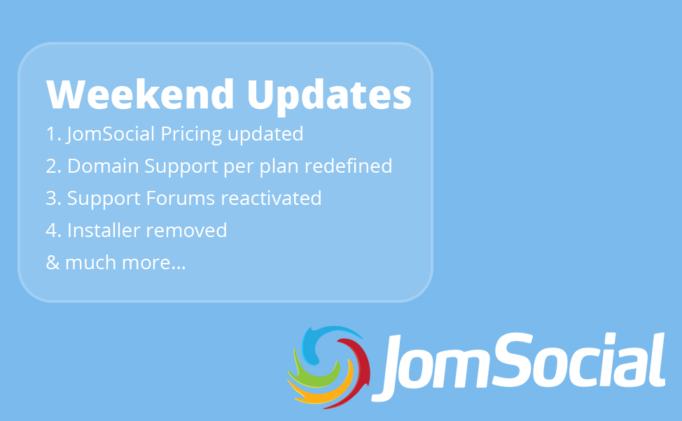 jomsocial weekend updates