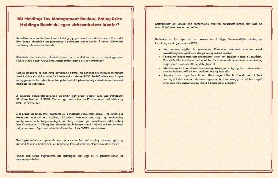 BP Holdings Tax Management Review, Balley Price Holdings Burde du egen virksomhetens lokaler