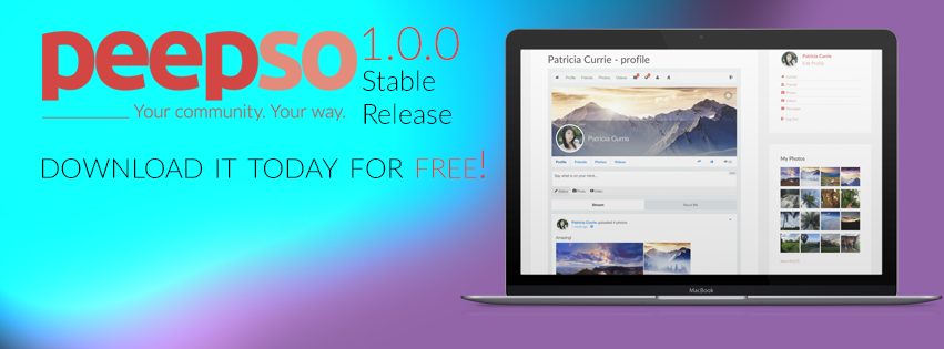We are proud to announce that PeepSo 1.0.0 Stable has just been released.<br /><br />Yup, it's no longer a Beta, no longer an RC. This is the real deal!<br /><br />Read more about it here: www.peepso.com/stable-1<br /><br />Download PeepSo 1.0.0 Stable version for FREE!<br /><br />#cms #wordpress #peepso #CMSrevolution #social #networking