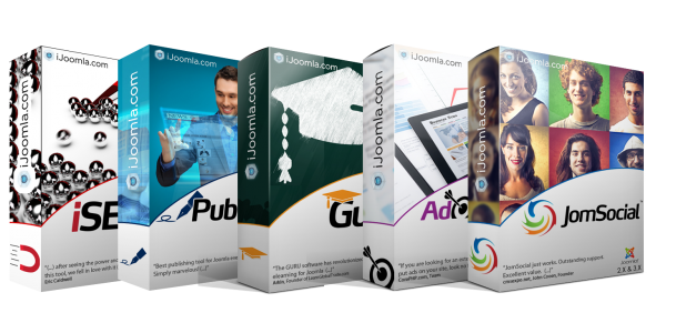 JomSocial Pro + Publisher Pro + GURU Pro + Ad Agency Pro + iSEO + Socialize