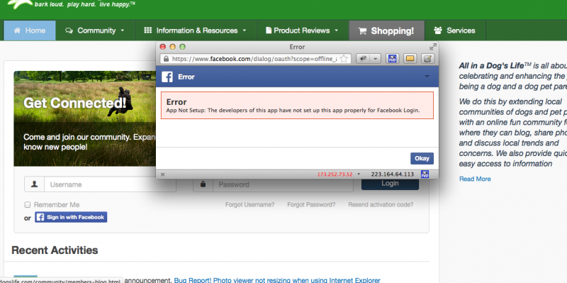 App not setup error when trying to login using Facebook - JomSocial