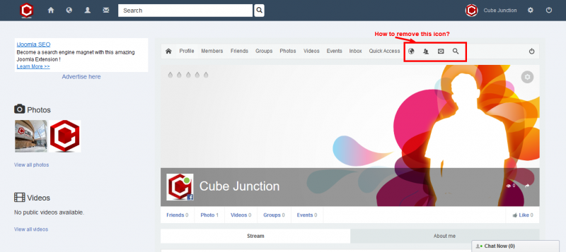 remove icon - JomSocial Forum